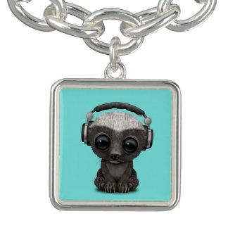 Cute Baby Honey Badger Dj Wearing Headphones Charm Bracelets