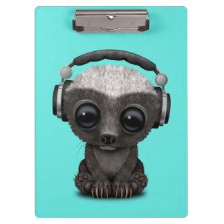 Cute Baby Honey Badger Dj Wearing Headphones Clipboard