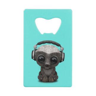 Cute Baby Honey Badger Dj Wearing Headphones Credit Card Bottle Opener