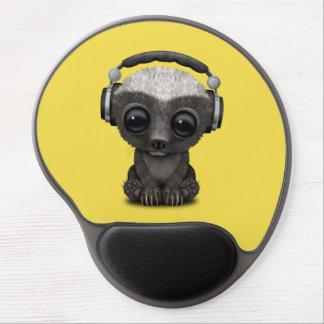 Cute Baby Honey Badger Dj Wearing Headphones Gel Mouse Pad