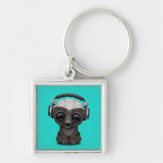 Cute Baby Honey Badger Dj Wearing Headphones Keychain