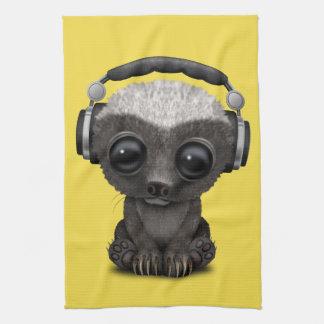 Cute Baby Honey Badger Dj Wearing Headphones Kitchen Towel