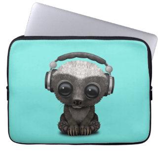 Cute Baby Honey Badger Dj Wearing Headphones Laptop Sleeve