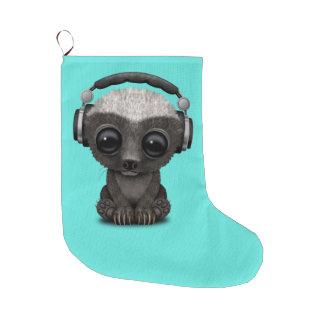 Cute Baby Honey Badger Dj Wearing Headphones Large Christmas Stocking