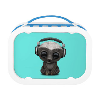 Cute Baby Honey Badger Dj Wearing Headphones Lunch Box