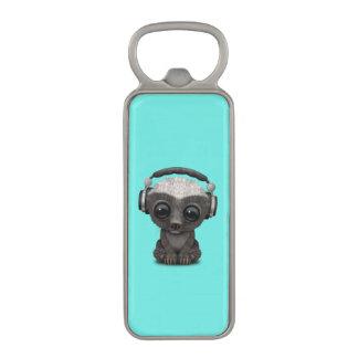 Cute Baby Honey Badger Dj Wearing Headphones Magnetic Bottle Opener
