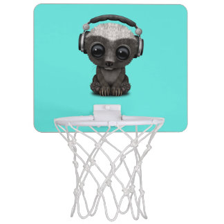 Cute Baby Honey Badger Dj Wearing Headphones Mini Basketball Hoop
