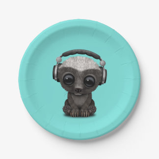 Cute Baby Honey Badger Dj Wearing Headphones Paper Plate