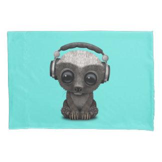 Cute Baby Honey Badger Dj Wearing Headphones Pillowcase