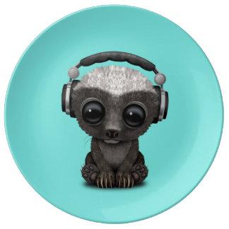 Cute Baby Honey Badger Dj Wearing Headphones Plate