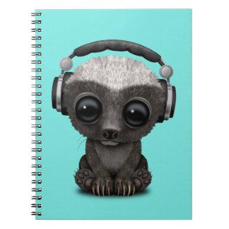 Cute Baby Honey Badger Dj Wearing Headphones Spiral Notebook