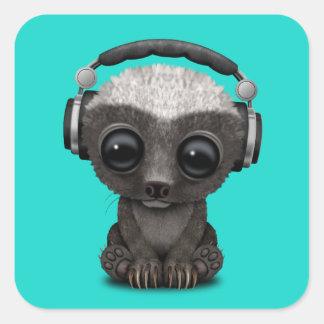 Cute Baby Honey Badger Dj Wearing Headphones Square Sticker