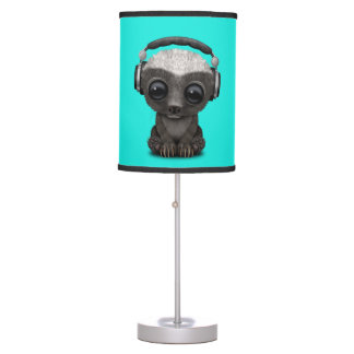 Cute Baby Honey Badger Dj Wearing Headphones Table Lamp