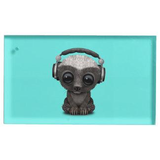 Cute Baby Honey Badger Dj Wearing Headphones Table Number Holder
