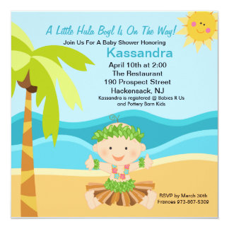 Cute Baby Hula Boy  Baby Shower Invitation
