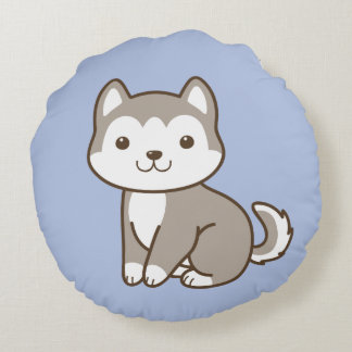 Cute Baby Husky Puppy Dog Round Throw Pillow