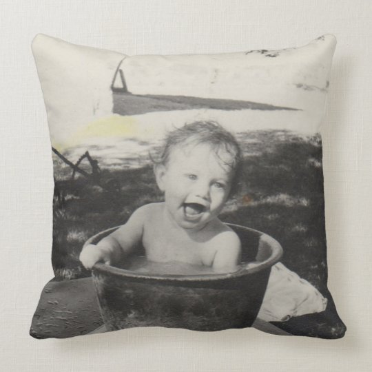 Cute baby in a bath - Black&White Throw Pillow