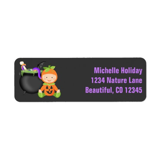 Cute Baby in Pumpkin Costume Halloween Address Return Address Label