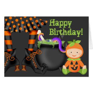 Cute Baby in Pumpkin Costume Halloween Birthday Card