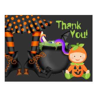 Cute Baby in Pumpkin Costume Halloween Thank You Postcard