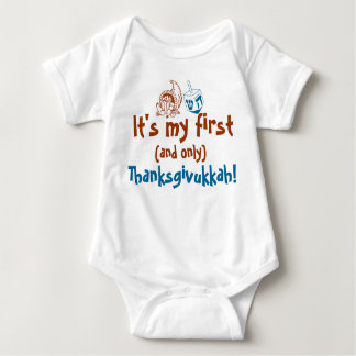 Cute Baby It's my first and only Thanksgivukkah Baby Bodysuit