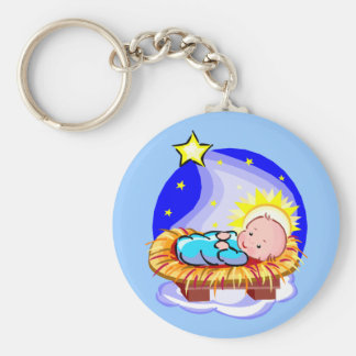 Cute Baby Jesus And Star Basic Round Button Keychain