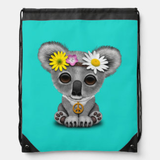 Cute Baby Koala Hippie Drawstring Bag