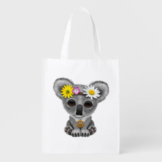 Cute Baby Koala Hippie Reusable Grocery Bag