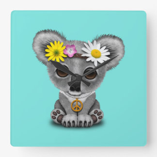 Cute Baby Koala Hippie Square Wall Clock