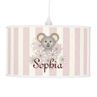 Cute Baby Koala Kids Name Pastel Pink Striped Hanging Pendant Lamp