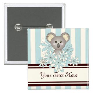 Cute Baby Koala Personalized Pastel Blue Striped 2 Inch Square Button