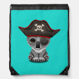 Cute Baby Koala Pirate Drawstring Bag