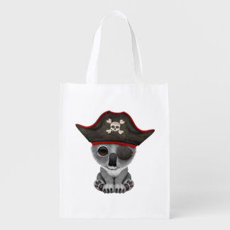Cute Baby Koala Pirate Reusable Grocery Bag