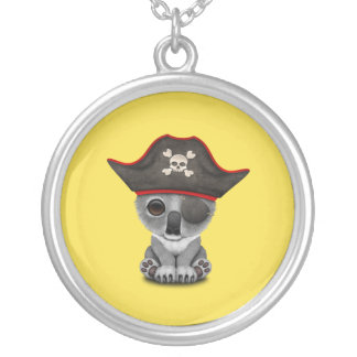 Cute Baby Koala Pirate Silver Plated Necklace