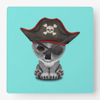 Cute Baby Koala Pirate Square Wall Clock