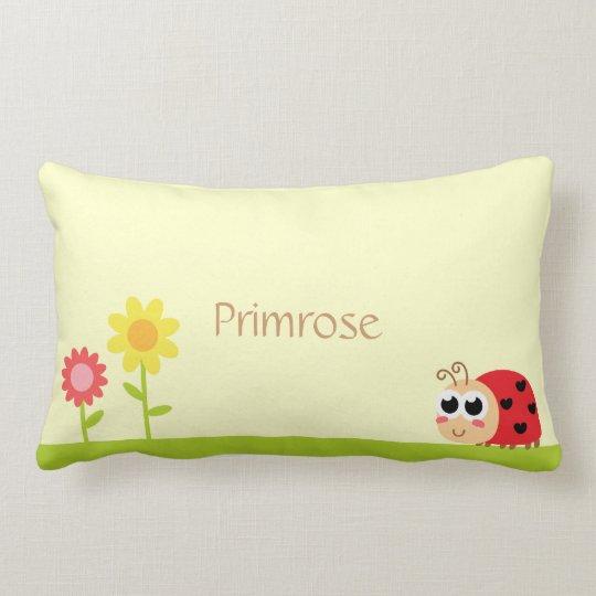 Cute Baby Ladybug with heart spots in a garden Lumbar Pillow