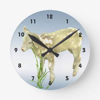 Cute Baby Lamb and Blue Sky Wall Clock