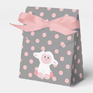 Cute Baby Lamb and Pink Polka Dots Girl Favor Box