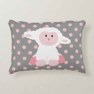 Cute Baby Lamb and Polka Dots Decorative Pillow