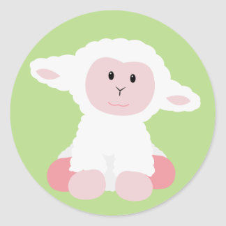 Cute Baby Lamb Classic Round Sticker