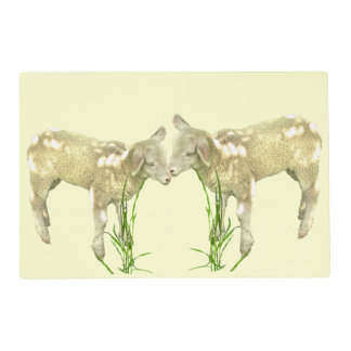 Cute Baby Lambs on Yellow Laminated Placemat