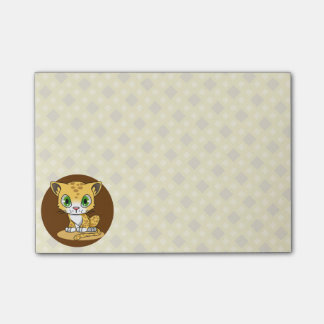 Cute baby leopard cat cartoon kids post-it notes
