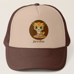 0fdf829ebaf49 Cute baby leopard cat cartoon name hat