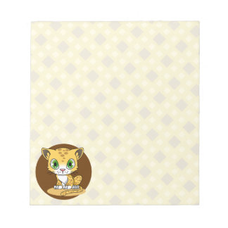 Cute baby leopard cat kawaii cartoon kids notepad