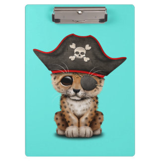 Cute Baby Leopard Cub Pirate Clipboard