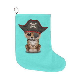 Cute Baby Leopard Cub Pirate Large Christmas Stocking