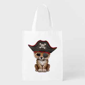 Cute Baby Leopard Cub Pirate Reusable Grocery Bag
