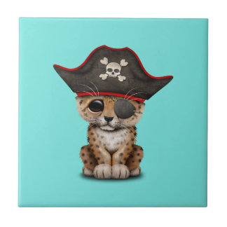 Cute Baby Leopard Cub Pirate Tile