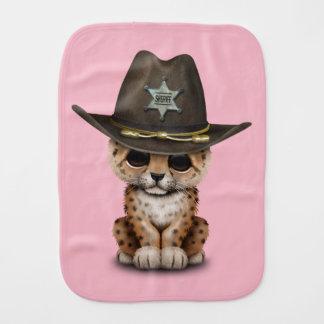 Cute Baby Leopard Cub Sheriff Baby Burp Cloth