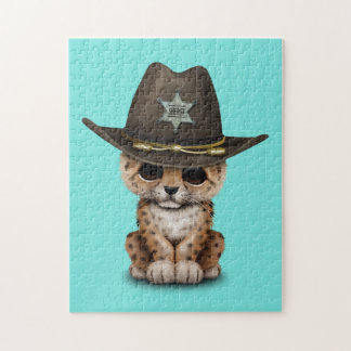 Cute Baby Leopard Cub Sheriff Jigsaw Puzzle